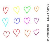 hand drawn heart in different... | Shutterstock .eps vector #1319573939