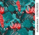 tropical birds seamless pattern.... | Shutterstock . vector #1319613323