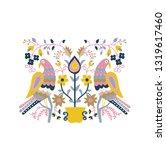 folk motif greeting card.... | Shutterstock .eps vector #1319617460