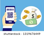 cashless with smartphone | Shutterstock .eps vector #1319676449