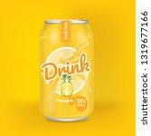 pineapple juice in aliminium... | Shutterstock .eps vector #1319677166