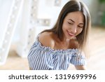 beautiful woman with wide smile | Shutterstock . vector #1319699996