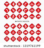 traffic sign icon clipart set  | Shutterstock .eps vector #1319761199