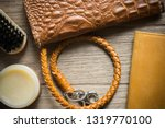 vintage genuine leather wallet... | Shutterstock . vector #1319770100
