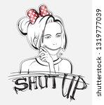 shut up. pop art vector... | Shutterstock .eps vector #1319777039