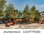 Main Street, Downtown Frisco, Colorado. A quaint and popular ski resort town in summertime. - stock photo