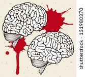 human brains on a beige... | Shutterstock .eps vector #131980370