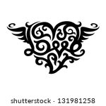 tattoo with love heart symbol... | Shutterstock .eps vector #131981258