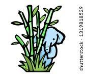 elephant behind bamboo cartoon... | Shutterstock .eps vector #1319818529