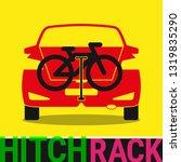 Hitch Bike Rack. Bicycle Rack Silhouette Illustration. Bike at the Rear of a Car. Rear Car Bike Rack. Bicycle Transportation Scheme. Illustration. - stock photo