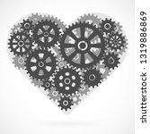 heart made of gears. romantic... | Shutterstock .eps vector #1319886869