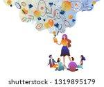the teacher gives children...   Shutterstock .eps vector #1319895179