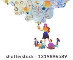 the teacher gives children...   Shutterstock .eps vector #1319896589
