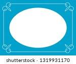 vector blue oval border frame.... | Shutterstock .eps vector #1319931170