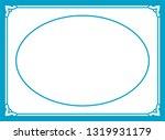 vector blue oval border frame.... | Shutterstock .eps vector #1319931179