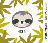 cute cartoon sloth. sloth... | Shutterstock .eps vector #1319977610