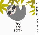 cute cartoon sloth. sloth...   Shutterstock .eps vector #1319977613