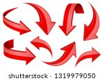red shiny 3d arrows. bent...   Shutterstock . vector #1319979050
