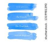 blue brush stroke watercolor on ... | Shutterstock .eps vector #1319981390