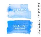 blue brush stroke watercolor on ... | Shutterstock .eps vector #1319981399