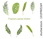 print tropical leaves vector  | Shutterstock .eps vector #1319985269