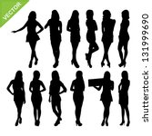 Sexy Women Silhouettes Vector...