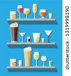 alcohol drinks collection in... | Shutterstock .eps vector #1319998190