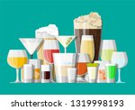 alcohol drinks collection in... | Shutterstock .eps vector #1319998193