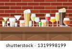 alcohol drinks collection in... | Shutterstock .eps vector #1319998199