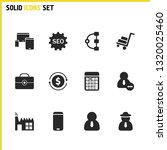 work icons set with factory ...