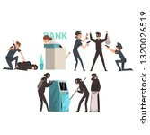 bank robbery set  armed masked...   Shutterstock .eps vector #1320026519