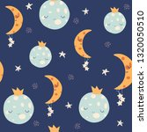 seamless pattern with cute moon ... | Shutterstock .eps vector #1320050510