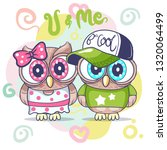 greeting card with cute cartoon....   Shutterstock .eps vector #1320064499