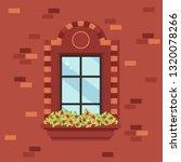 window with red flowers. vector ... | Shutterstock .eps vector #1320078266