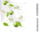 apple and leaf in milk splash ... | Shutterstock . vector #132008060
