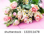 bunch of roses pink color - stock photo