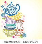 Tea party invitation free vector art 8847 free downloads tea cup background with teapot illustration for design vector stopboris Images
