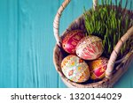 happy easter   basket with... | Shutterstock . vector #1320144029