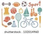 set of colorful sport icons | Shutterstock .eps vector #132014960