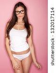 thoughtful shapely brunette... | Shutterstock . vector #132017114
