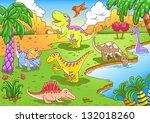 cute dinosaurs in prehistoric... | Shutterstock .eps vector #132018260