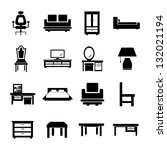 furniture black and white set | Shutterstock .eps vector #132021194