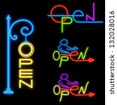 varicolored neon signboard open ... | Shutterstock . vector #132028016