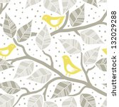 Beige Gray Leaves And Yellow...