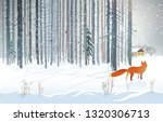 Winter Forest Landscape With A...