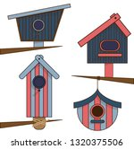 wooden birdhouses. set of... | Shutterstock .eps vector #1320375506