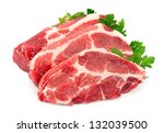 pieces of crude meat with... | Shutterstock . vector #132039500