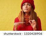 diseased woman holding pill and ... | Shutterstock . vector #1320428906