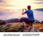 hiker takes selfie photo  fall...   Shutterstock . vector #1320437699