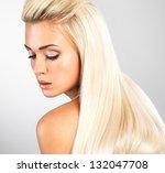 beautiful woman with long... | Shutterstock . vector #132047708